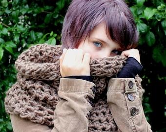 The Chunky Cowl neck shawl scarf hood bark brown