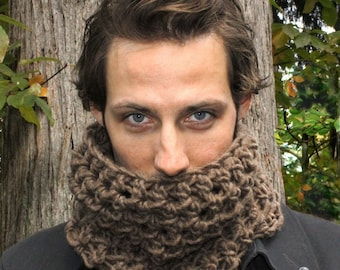 Mens Cowl neck scarf warmer scarflette bark Brown