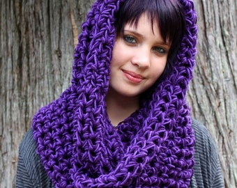 Chunky Cowl neck scarf vegan hookedwear eggplant grape purple