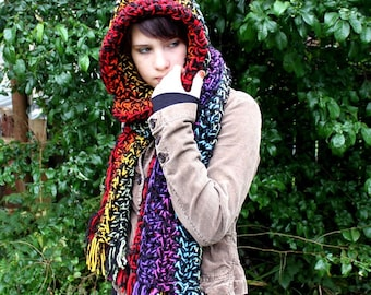 Rainbow Cowl neck long open end exra wide shawl fringe scarf