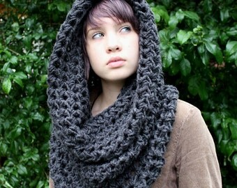 Chunky cowl neck shawl hood scarf charcoal black purple cranberry brown