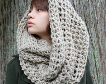 Favorite Cowl neck hood scarf wool natural bone white