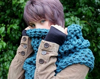 The Grunge Cowl neck Hood scarf Vegan Teal blue