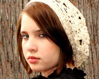 The Lace Slouch boho beret Mori Girl Hat ivory white