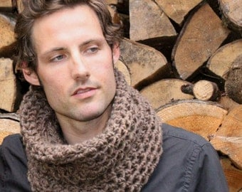 The Light House Keeper cowl Mens nautical winter scarf Bark brown