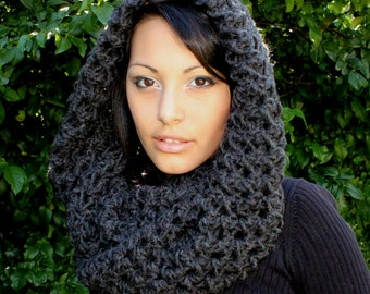 The Favorite Cowlneck scarf Chunky Wrap charcoal black