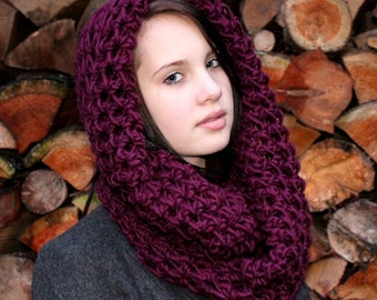 The Favorite Wool Cowl neck Hood scarf Eggplant Purple