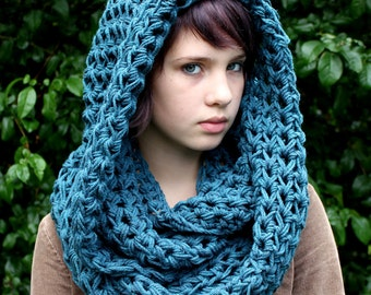 The Favorite Cowl scarf Hood Warmer Vegan Teal blue