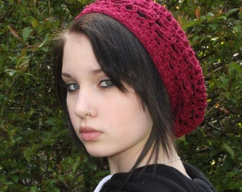 The Lace Slouch boho vegan beret Mori Girl Hat Cranberry ruby red