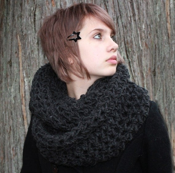 The Favorite Cowl Hood scarf shawl warmer charcoal Black
