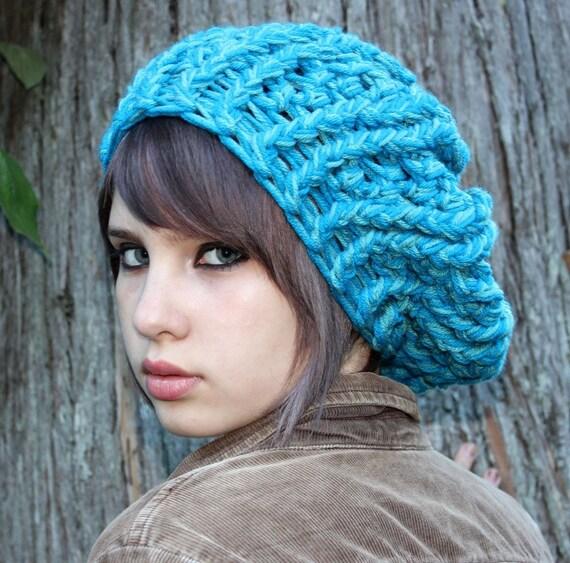 Oversized Beret slouch Boho Hat turquoise blue