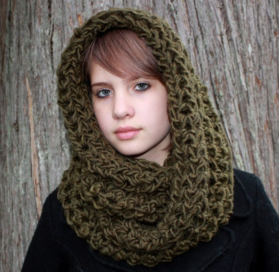 Reserved for catheronic The Favorite Cowl neck Hood scarf wool Dark Sage warmer