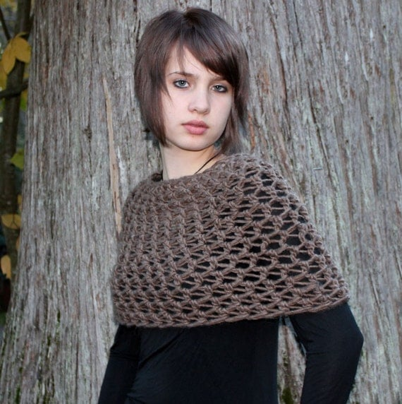 Cowl neck Scarf Wool Capelette shawl Bark Brown