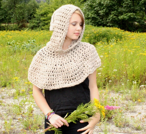 The Hood Poncho Cowl neck shawl Scarf spun wool Natural bone white