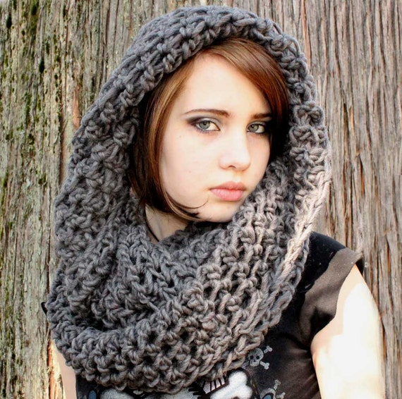 The Favorite Cowl neck hood winter scarf Stormy Slate Grey
