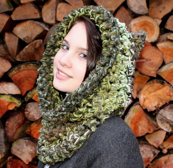 Hood scarf cowl fishermens green olive sage