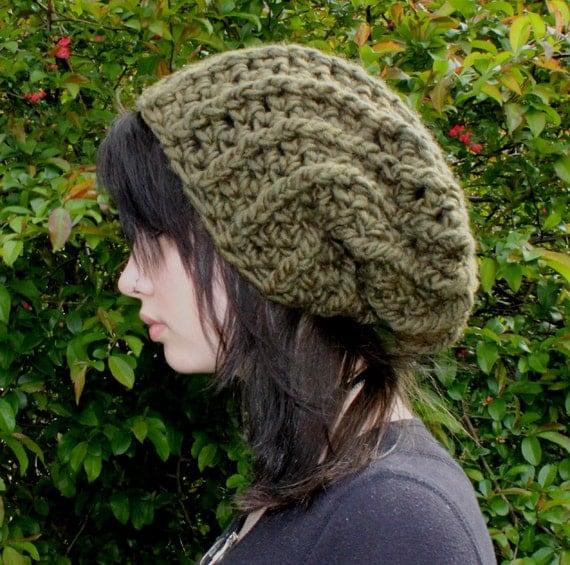 Black Friday Sale City Grunge Musician ribbed slouch boho beret mens hat olive green