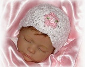 Creme Brulee Baby Girl Hat-choose size -Preemie- NB 0-3 Months- 3-6 mo- 6-9 mo- 12 mo...Now Available in 6 Colors