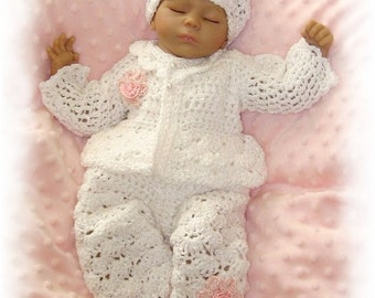 Creme Brulee -3 Piece Pink or White Rosebud Layette - Four Infant Sizes including Preemie and Newborn- With long pant for Chilly Nights