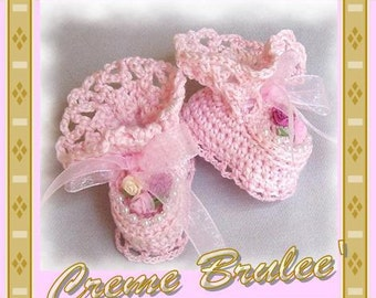 Creme Brulee Boutique Victorian Beaded Lace Christening Booties-3 Sizes Preemie and Newborn -Also in White