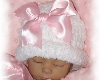 Creme Brulee Winter Warmth -Snowball Fleece Crocheted Hat for Toddler