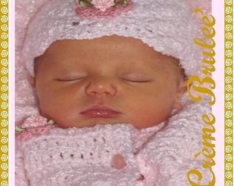 Creme Brulee Baby Girl Hat-choose size- NB 0-3 Months- 3-6 mo- 6-9 mo- 12 mo...Now Available in 6 Colors