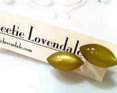 Olive Green Pod Posties - lucite post earrings