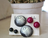 Agate and Gems Post Earring Collection - lucite post earrings - Plum Green & Black White Agate