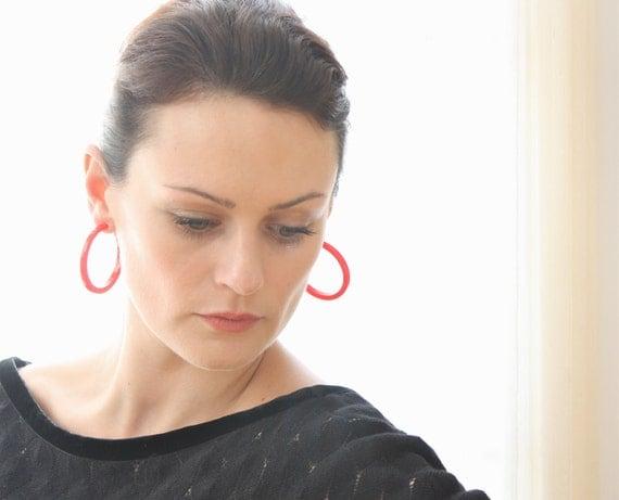 Red Hoop Earrings | Big Red Hoops | vintage lucite hoop earrings | Leetie Lovendale