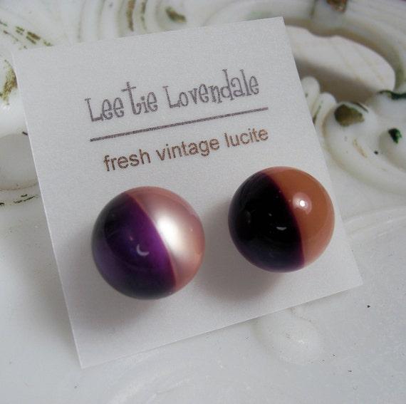 Harlequinn Moonglow Posties - purple and pink half and half lucite post earrings
