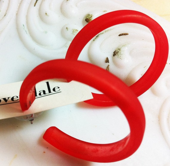Red Hoop Earrings | Cherry Red Frosted Hoops | The Classic Hoop | vintage lucite earrings - #CLH-1RD