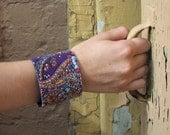 purple paisley wist cuff, upcycled vintage scarf