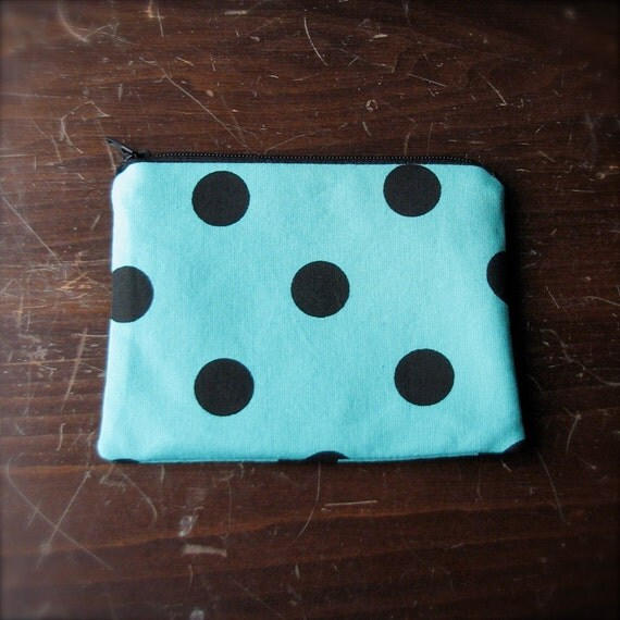 change purse, aqua with black polka dots