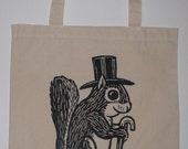 Formal Squirrel Canvas Shopping Tote Bag