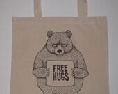 Free Hugs Bear Canvas Shopping Tote Bag