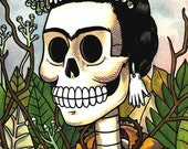 Frida Calavera with Flowers Print 5 x 7, 8 x 10
