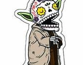 Old Yoda Calavera Clear Die Cut Vinyl Sticker