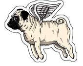 Flying Pug Die Cut Vinyl Sticker