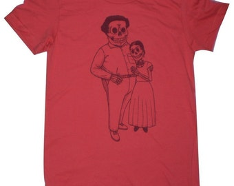 Frida and Diego Womens ORGANIC T-Shirt Small, Medium, Large, XL in Pomegranate