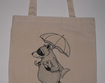Raccoon with Umbrella Canvas Shopping Tote Bag