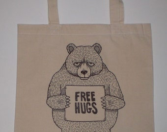 Free Hugs Bear Canvas Shopping Tote Bag
