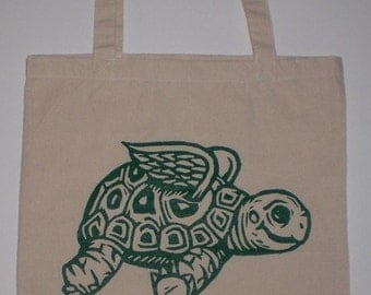 Flying Tortoise Canvas Shopping Tote Bag