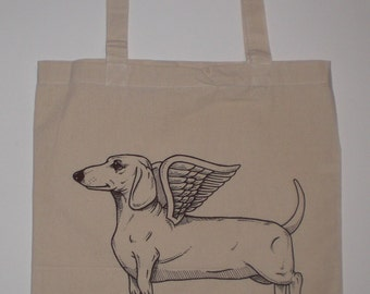 Flying Dachshund Canvas Shopping Tote Bag