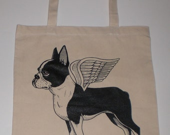 Flying Boston Terrier Canvas Shopping Tote Bag