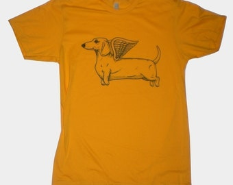 Flying Dachshund Mens T-Shirt Small, Medium, Large, XL in 4 Colors