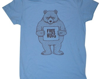 Free Hugs Bear Womens T-Shirt Small, Medium, Large, XL in 9 Colors