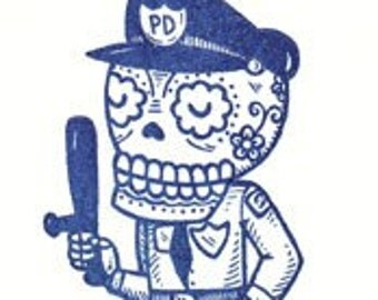 El Policia Limited Edition Gocco Screenprint ACEO
