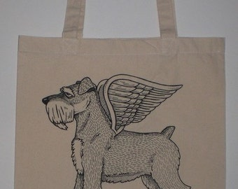 Flying Schnauzer Canvas Shopping Tote Bag