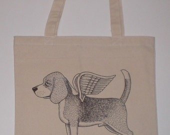 Flying Beagle Canvas Shopping Tote Bag