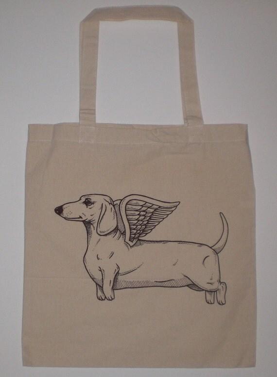Flying Dachshund Canvas Shopping Tote Bag